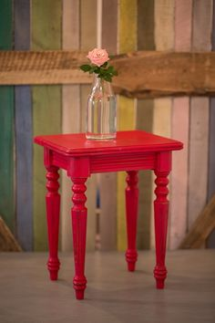 Small table painted with Chalk Paint decorative paint by Annie SLoan - Emperor's Silk with dark wax