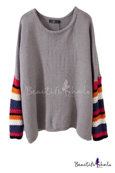 Color Block Long Sleeve Crew Neck Sweater