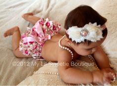 White and pink Satin Bloomer Set- Headband and Bloomers- Newborn Outfit - Baby Girl Outfit - Toddler- Photo Prop- Valentines Outfit. $26.95, via Etsy.