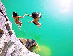 bathing suits, beach, beauty, blue, friend - inspiring picture on Favim.com