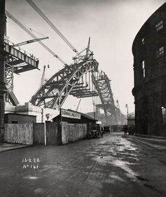 The road platform reaches out under the arch. No 141, 13.2.28 - Building the Tyne Bridge - Photography - Amber Online