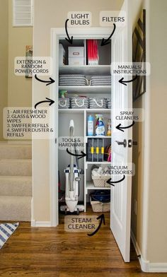 Gather all your cleaning and interior home upkeep supplies into one location like a small coat closet coats can be moved to coat hooks racks in the entry to free up this premium storage space this is the best way to organize your utility closet Linen Closet Organization, Home Organisation, Organization Ideas For The Home, Home Decor Ideas, Storage Organization, Organizing Ideas, Cleaning Supply Organization, Organizing Small Closets, Cleaning Cupboard Organisation
