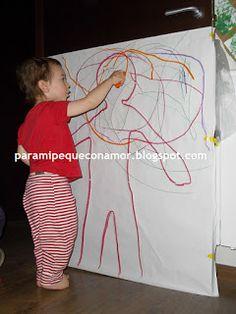 Dibujamos y pintamos la siueta de nuestro cuerpo. Actividades 1-2 años