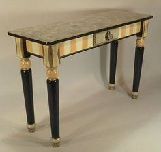 Sofa Table-Turned Legs:  melon-ivory with Anthropologie knob; handpainted by SuzanneFitchGallery; $1980.00 Buy on Etsy
