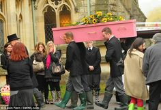Mourners in wellies and camper van for a hearse: Glastonbury fan's extraordinary festival-themed funeral