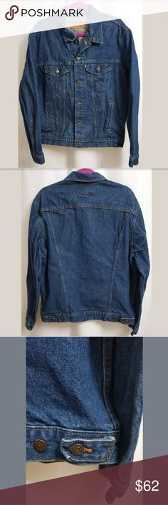 """VTG Levi's 71506-0216 Blue Jean Trucker Jacket 44L This is a VTG Levi's 71506-0216 Blue Jean Trucker Jacket sz 44L USA 1980s. There are no stains, snags, or holes.   Measurements: (When laid flat)  Armpit to armpit: 24"""" Top of shoulder to bottom: 24""""  Product material:  100% Cotton  Inventory #: CC Levi's Jackets & Coats"""