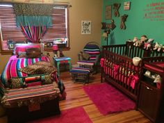 Finished!! Cowgirl Serape Cheetah Baby Nursery