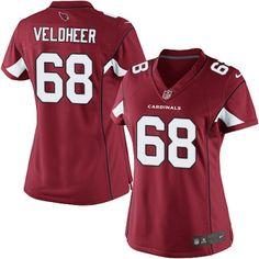Limited Jared Veldheer Womens Jersey - Arizona Cardinals #68 Home Red NFL