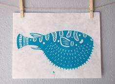 Blowfish lino block print  teal by LaceyOakStudio on Etsy, $10.00