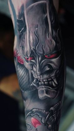 Japanese hannya tattoo (maybe with the symbols for fire or storm on the forehead) Samurai Maske Tattoo, Hannya Maske Tattoo, Oni Mask Tattoo, Samurai Tattoo Sleeve, Japanese Demon Tattoo, Japanese Sleeve Tattoos, Yakuza Tattoo, Japanese Tattoo Designs, Tattoo Designs Men