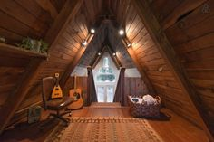$135-A-NIGHT—Cozy A-Frame Cabin in the Redwoods  of Cazadero, California.  http://tinyhousetalk.com/amazing-tiny-frame-cabin-redwoods/    —— https://www.airbnb.com/rooms/2437969
