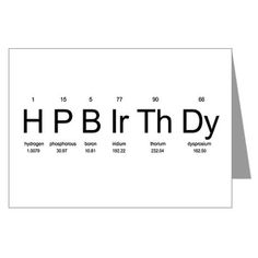 Periodic Table Birthday Card