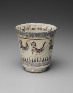 Goblet - late 12th?early 13th century Mina'i ware; fritware with polychrome enamels on an opaque white glaze 11.6 x 11.1 cm (4 9/16 x 4 3/8 in.) Persian, Iranian, Islamic, probably Kashan Period - Seljuk dynasty (1038?1194) or their successors | Ceramic