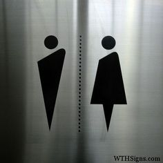 Bathroom signage, stylized pictograms, applied vinyl on brushed stainless steel