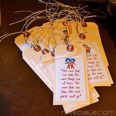 Party favors for a book themed party. Put some of your favorite book quotes on bookmarks. Lovebit