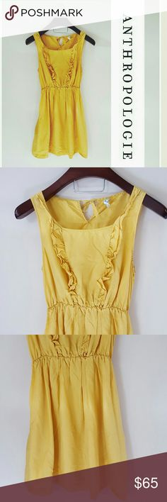 Anthropologie | 100% silk Maeve yellow dress In excellent condition! Gorgeous Anthropologie Maeve 100% silk dress. Gorgeous ruffle detail and pockets!  Size medium. Elastic band at waist.  Light wrinkles at bottom.  Bundle up! Offers always welcome:) Anthropologie Dresses