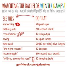 watching the bachelor winter games on abc? get this bachelor workout to burn some calories while you watch!