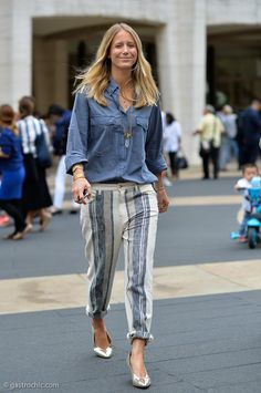Change is afoot. #JenniferNeyt says later tater to heels and hello to flats in her rocking denim ensemble. NYC
