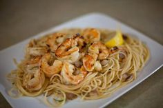 Shrimp Recipe: Fresh Peeled and Deveined Shrimp Pan-Fried in Butter with Buttered Lemon Noodles