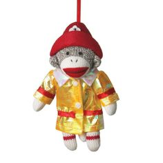 Sock Monkey Firefighter Christmas Ornament  | Shared by LION