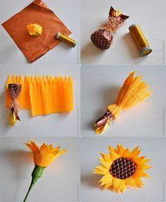 como hacer girasoles   Como-hacer-girasoles-de-dulces-y-papel-corrugado Gift Bouquet, Paper Bouquet, Candy Bouquet, Candy Flowers, Tissue Flowers, Paper Flowers, Summer Crafts, Diy And Crafts, Crafts For Kids