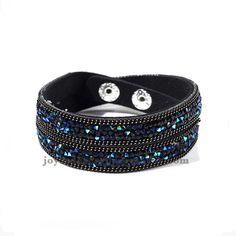 pulsera de cuero con crystal joyas en color azul tinto