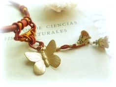 Oriental butterfly necklacebrass pendant maroon and by GBILOBA, €26.00