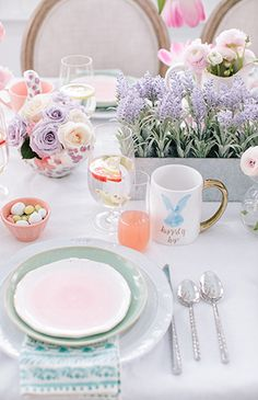 Setting a Whimsical Pastel Easter Brunch Table with fresh blooms- Inspired By This