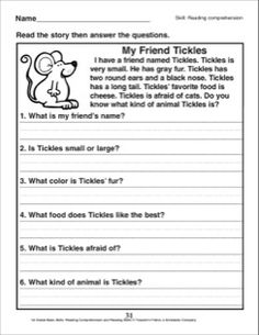 My Friend Tickles (A Reading Comprehension Passage with Questions): 1st Grade Reading Comprehension Skills