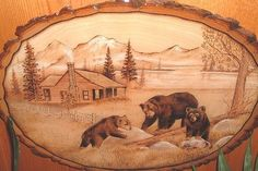 Gallery For > Bear Wood Burning