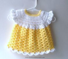 Crochet Baby Dress Crochet Baby Dress | Crochet Baby Dress, Yellow and White Cr...