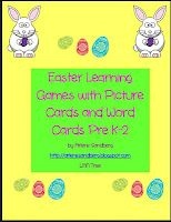 Free Easter Vocabulary Picture cards and word cards to use playing Memory, Picture/Word match, What am I? and Find your partner