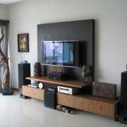 Furniture. Excellent Tv Wall Mounting Ideas That Will Inspire You. Fabulous Tv Wall Mounting Ideas In Intertainment Room With Black Lcd Television And  Wooden Multimedia Stand Also Speaker Sets Plus White Wall Paint Color And Ceramic Floor Tile Inspiring Your Home Decorations.