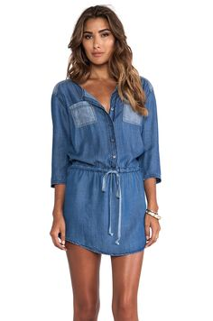 Michael Stars 3/4 Sleeve Button Down Shirt Dress in Denim from REVOLVEclothing