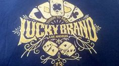 LUCKY BRAND Men T Shirt M 100%  Cotton Blue Short Sleeve Poker Aces & Dice $$$$ #LuckyBrandAuthentic #GraphicTee
