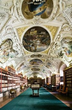 The Theological Library in the Strahov Monastery in Prague, Czech Republic.