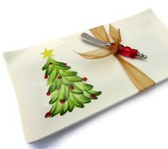 hand painted platters | Hand Painted Christmas Serving Platter with Christmas Tree