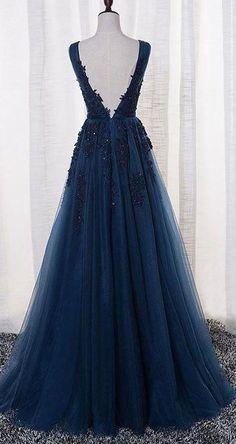 Elegant Prom Dress, Tulle Prom Dress, Appliques Beaded Prom Dress,A Line Prom Dress,Long Evening Dress,Formal Evening Gown #eveningdresses