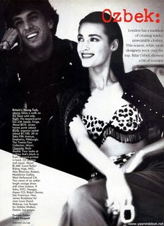 "us vogue january 1989 ""Ozbek: On the Fringe"" Model: Yasmin Le Bon Photographer: Eamonn J. McCabe"