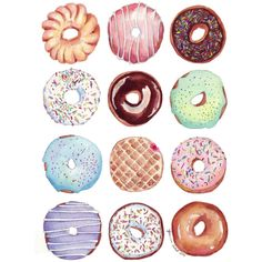 Dozen Donuts Watercolor Painting Print - Doughnuts Art - Kitchen Art -... (535 UAH) ❤ liked on Polyvore