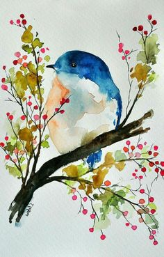 40 Easy Watercolor Painting Ideas For BeginnersYou can find Watercolor art for beginners and more on our Easy Watercolor Painting Ideas For Beginners Watercolor Painting Techniques, Watercolor Artists, Watercolor Illustration, Watercolor Paintings, Kids Watercolor, Floral Watercolor, Simple Watercolor, Bird Drawings, Easy Drawings