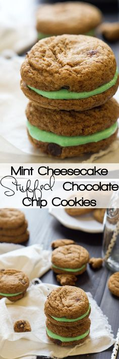 Mint Cheesecake Stuffed Chocolate Chip Cookies are filled with a creamy, mint cheesecake mixture that is perfect for your sweet tooth or any party! #chocolatechipcookies #cheesecake #mint #dessert