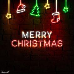 Stars, Santa hat, stocking, pine tree and Merry Christmas neon sign on a dark brick wall vector