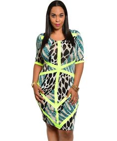 Younique Couture                  - The Neon Trim Teal Wild Animal Print Dress, $39.00 (http://www.youniquecouture.com/the-neon-trim-teal-wild-animal-print-dress/)
