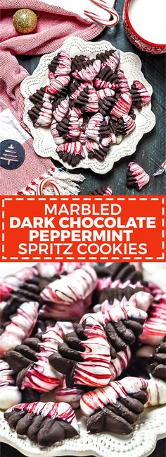 Marbled Dark Chocolate Peppermint Spritz Cookies - Host The Toast