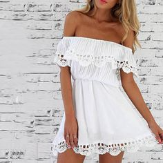 Cheap vestido off, Buy Quality dress vestidos directly from China mini dress Suppliers: 2017 New Style Summer Women White Lace Stitching Dress Off Shoulder Strapless Sexy Dress Slash Neck Mini Dresses Vestido Vestidos Sexy, Dress Vestidos, Stylish Dresses, Sexy Dresses, Casual Dresses, Summer Dresses, Mini Dresses, Women's Casual, Party Dresses