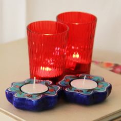 send diwali gifts online india-tealight and candles Diwali Gifts, Blue Pottery, Tea Light Holder, Online Gifts, Tea Lights, Candle Holders, Candles, India, Red