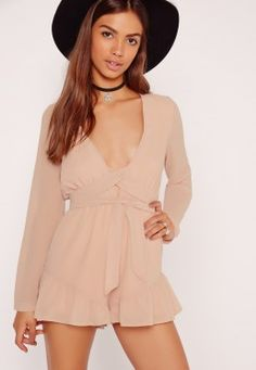 Crepe Long Sleeve Flutter Shorts Playsuit Nude