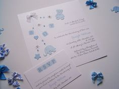 Pack of 10 gorgeous hand made Christening Invitations for a boy. £30.00