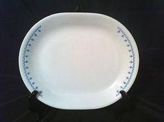 "Pyrex Corning Corelle Snowflake Blue Garland Platter 12"" Livingware"